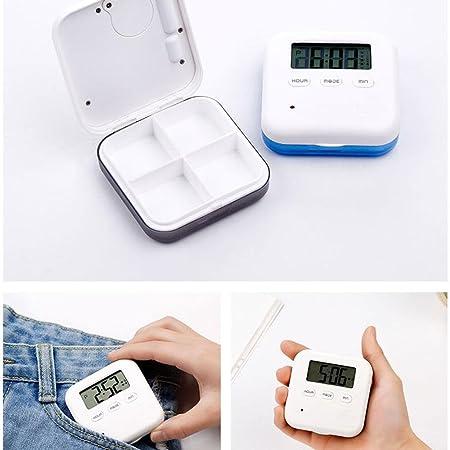KOBWA - Pastillero Digital con 5 recordatorios de Alarma, Organizador de Pastillas de Viaje Portátil para vitaminas, medicamentos, medicamentos y ...