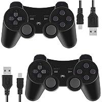 Kepisa Control Inalámbrico Bluetooth para Playstation 3 PS3 con Cable USB (Black and Black)