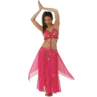 815961cb08f4 Amazon.com: Gold Coin Women Halter Top Skirt Belly Dance Costume for Women  Halloween Costumes of Adults Hot Belly Dancer Skirt Tribal Bohemian  Fuchsia: ...