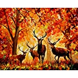 Ant-Tree 19.69''x15.75'' Deer 5D DIY Diamond Painting Kit Full Square Rhinestone Embroidery Cross Stitch Arts Craft for Home Wall Decoration