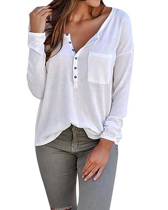 b1588ca765172 ACHIOOWA Mujer Camiseta Elegante Casual Hombros Descubiertos Blusa Mangas  Largas Cuello Redondo Top  Amazon.es  Ropa y accesorios