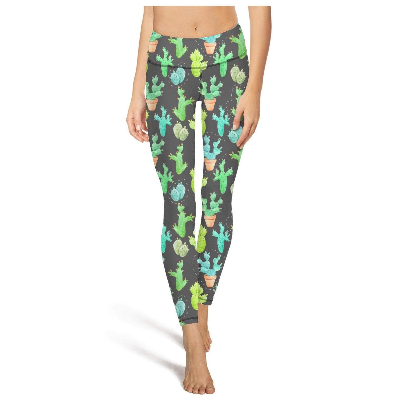 DFGHFGFQ Women Girls Yoga Pants Green Funny Cactus Stem Seamless Elastic Leggings Outfit Sports Bra Padded