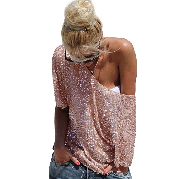 bd5c39b3fda291 Women Sexy Loose Off Shoulder Sequin Glitter Blouses Summer Casual Shirts  Vintage Streetwear Party Tops at Amazon Women s Clothing store