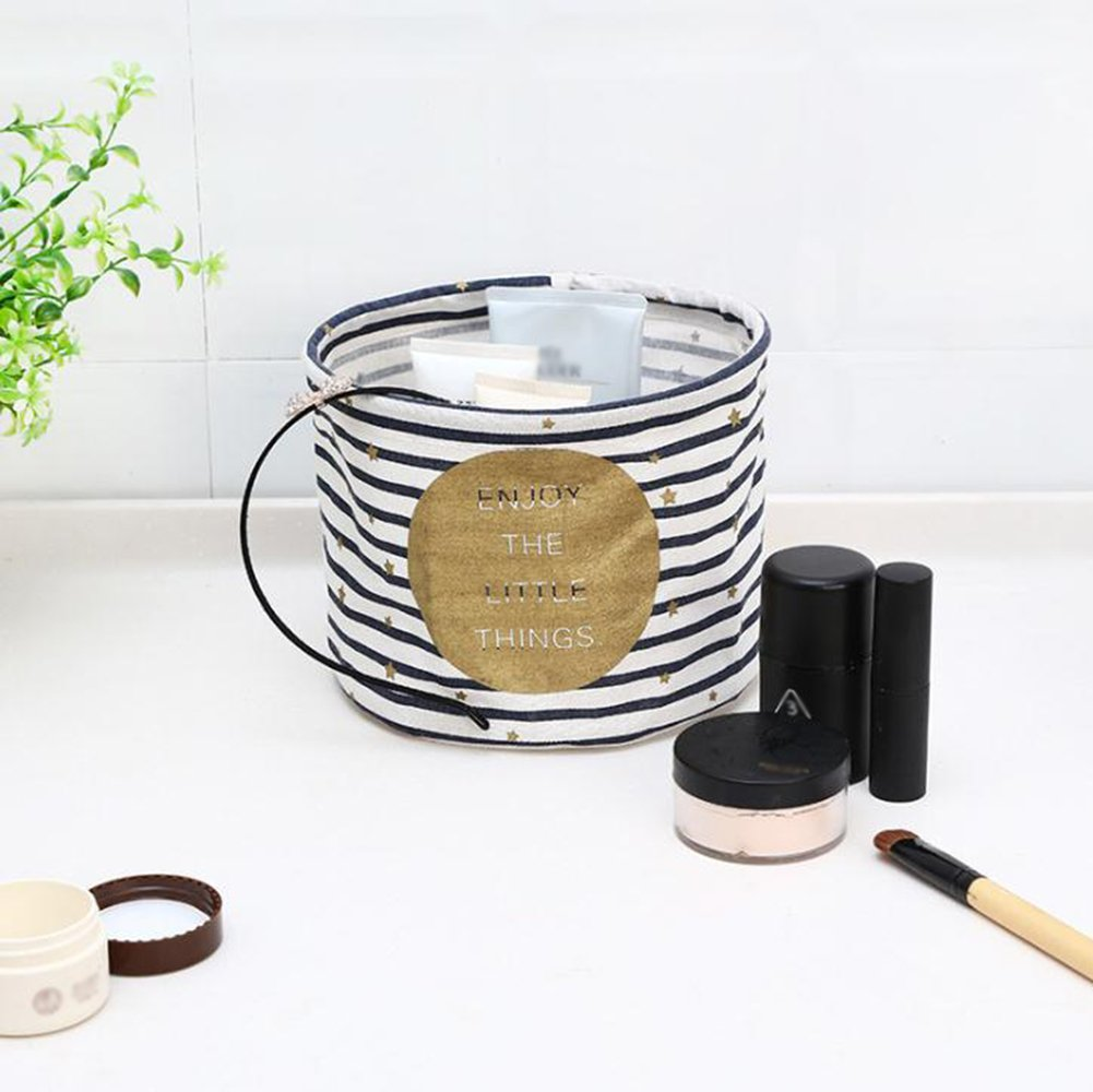 Aloiness Redondo cestas de Juguete Bolsa de Almacenamiento Cesta de Ropa Organizador de Maquillaje Plegable Bolsa de Almacenamiento de Tela decoraci/ón del hogar