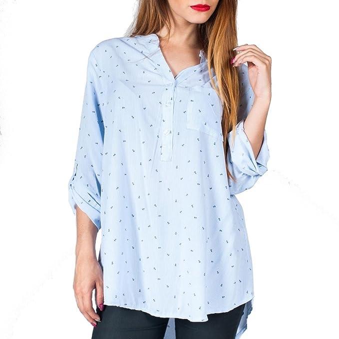 Blusa Camisa Azul con Rayas y Anclas estilo marinero