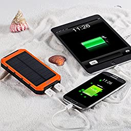 Solar Charger, Portable Solar Power Bank 10000mAh Dual USB Battery Charger External Backup Power Pack for Cell Phone Camera GPS Tablets and Other 5V USB Devices-Orange