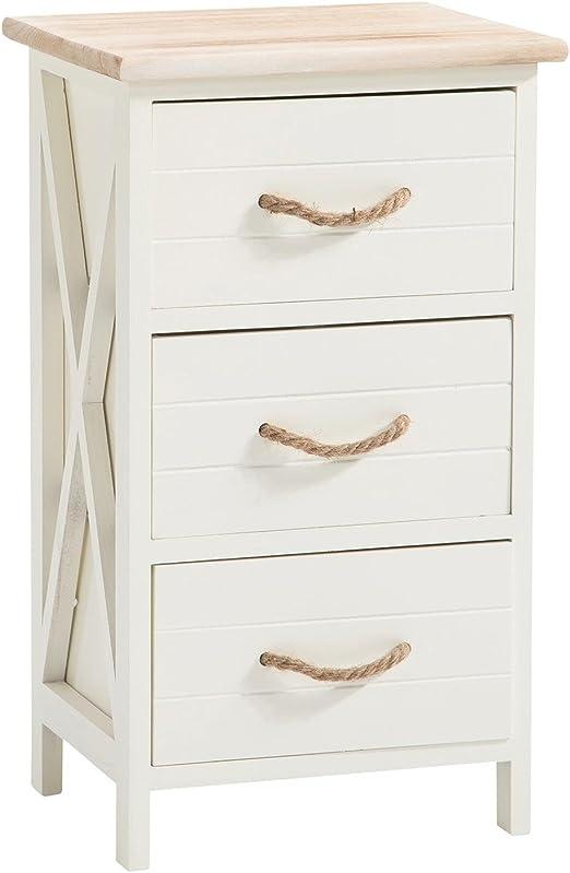 Caro Mobel Perugia Bedside Table White Shabby Chic Vintage Look With 3 Drawers Amazon De Kuche Haushalt