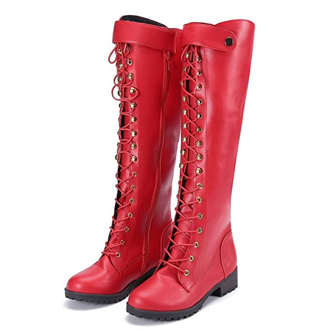 85e5a87c06a Memela Women Motorcycle Boots Fashion Over The Knee Heel Boots Lace-Up  Shoes Gladiator Long