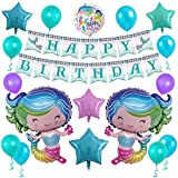 Mermaid Birthday Party Decorations, Glitter Mermaid Happy Birthday Banner and Aluminum Foil Balloons for Brithday Praty, Baby Shower, Party Events