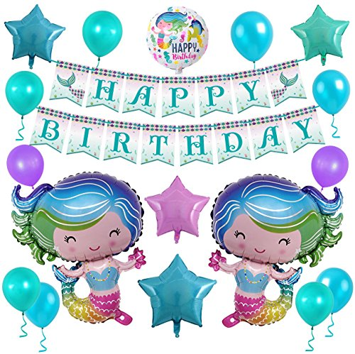 Mermaid Birthday Party Decorations, Glitter Mermaid Happy Birthday Banner and Aluminum Foil Balloons for Brithday Praty, Baby Shower, Party Events by HUIBO