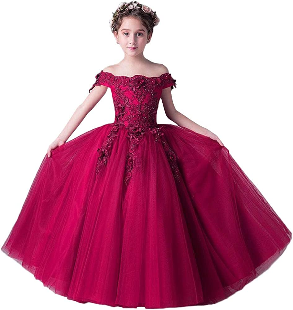 Girls Lace Bridesmaid Maxi Full Dress Party Princess Lace Embroidery Kids Dress/&