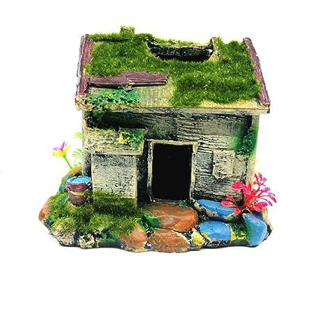 Tianya Adorno para Acuario House Flocking árbol Agujero Moss Coral Artificial 14X12.5X13cm (A