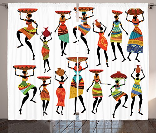 Ambesonne African Curtains, Pattern Cool Women Carrying Some Ornaments on Their Heads Artprint, Living Room Bedroom Window Drapes 2 Panel Set, 108 W X 84 L Inches, White Orange