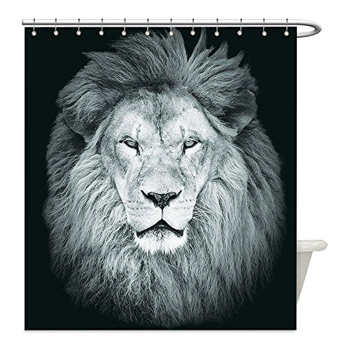 Diy Lion Mane Dog Costume (Liguo88 Custom Waterproof Bathroom Shower Curtain Polyester Safari Decor Collection Portrait of Huge Male African Lion Head with Fire Mane Against Dark Background Image Print Gray Black Decorative ba)