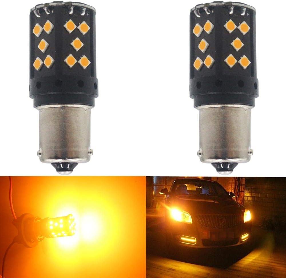 AMAZENAR Paquete de 2-1056 BAU15S 7507 12496 PY21W Ámbar/Amarillo Sin polaridad Código de Error de Canbus LED Libre Luz de intermitencia Bombilla Intermitente