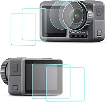 Tempered Glass Screen Protector Film for DJI OSMO Action Camera 2 Pack Anti-Scratch 2PCS Front and Back Screen Protector 2PCS Lens Film Foil for DJI OSMO Action Camera Accessory Bubble Free