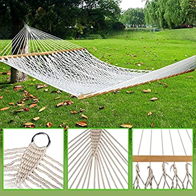 "Zeny 59"" Cotton Hammock Double Wide Solid Wood Spreader Outdoor Camping Travel Patio Backyard Hammock"