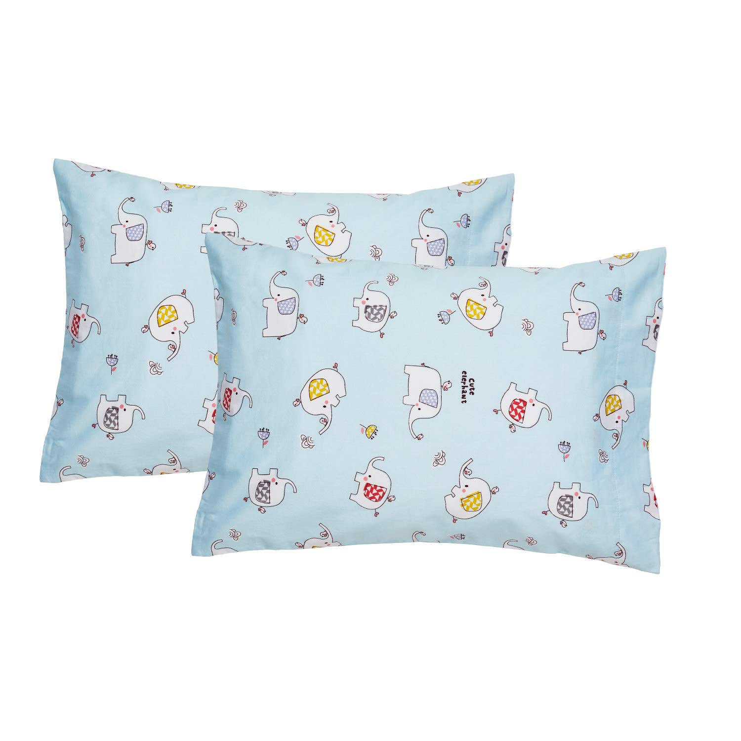 EXQ Home Toddler Pillowcases 14x20 Cotton Travle Pillow Case Set of 2, Small Pillow Case Fits Baby Pillows Sized 12x16, 13x18, Machine Washable Baby Pillow Case with Envelope Closure(Blue Elephant)
