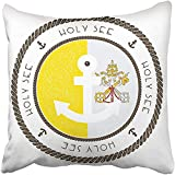 Throw Pillow Cover Polyester 18X18 Inches Nautical Rubber Stamp With Holy See Flag And Anchor Marine With Round Rope Border Decorative Cushion Pillow Case Square Two Sides Print For Home