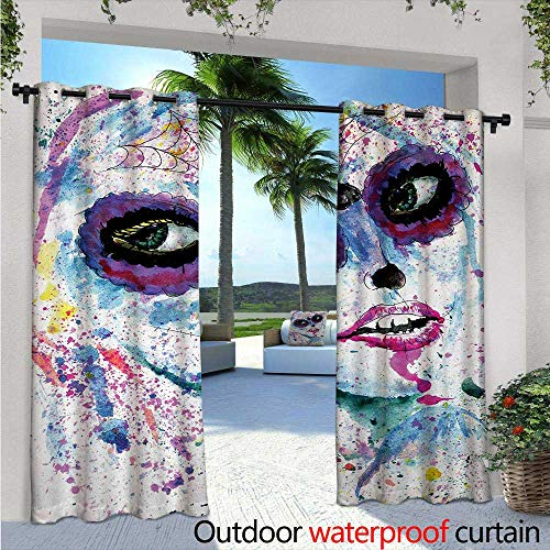 Girls Exterior/Outside Curtains W84 x L108 Grunge Halloween Lady with Sugar Skull Make Up Creepy Dead Face Gothic Woman Artsy for Patio Light Block Heat Out Water Proof Drape Blue Purple