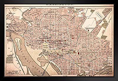 Poster Foundry Washington DC Vintage 1898 Antique Style Map by ProFrames