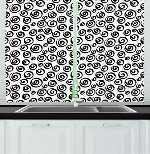 Ambesonne Abstract Kitchen Curtains, Minimalist Spiral Turning Circular Vortex Round Forms Artistic Modern Display, Window Drapes 2 Panels Set for Kitchen Cafe, 55W X 39L inches, Black White