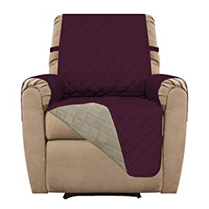 Easy-Going Recliner Cover Sofa Slipcover Reversible Sofa Cover Furniture Protector Couch Cover Water Resistant Elastic Straps PetsKidsChildrenDogCat(Recliner,Wine/Beige)