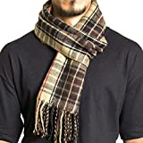 Alpine Swiss Winter Scarf Soft Elegant Fashion Wrap Scarves Brown Plaid
