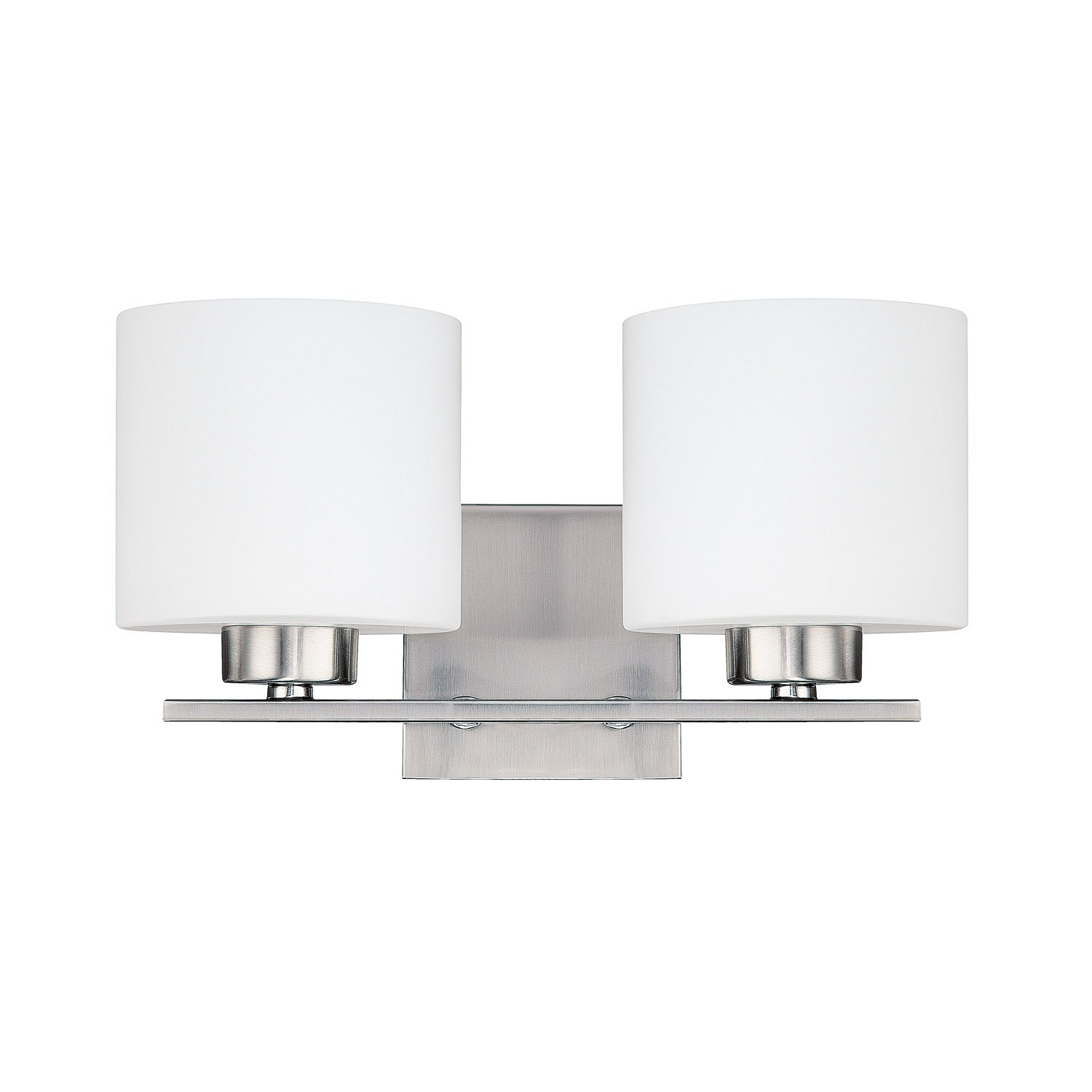 Capital Lighting 8492BN 103 Steel 2 Light Vanity Fixture, Brushed Nickel  Finish With Soft White Glass   Bathroom Lighting   Amazon.com