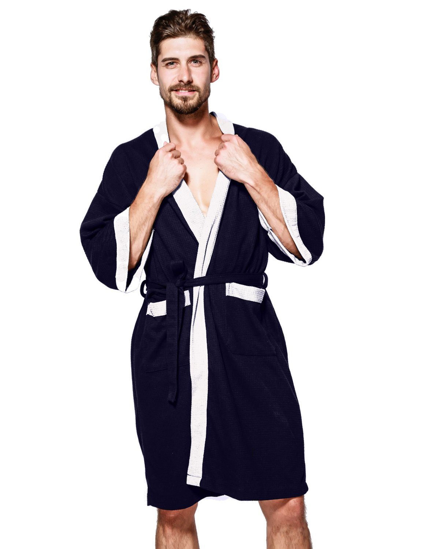 BELLOO Men Women Unisex Bathrobe Cotton Waffle Weave Dressing Gown Lightweight