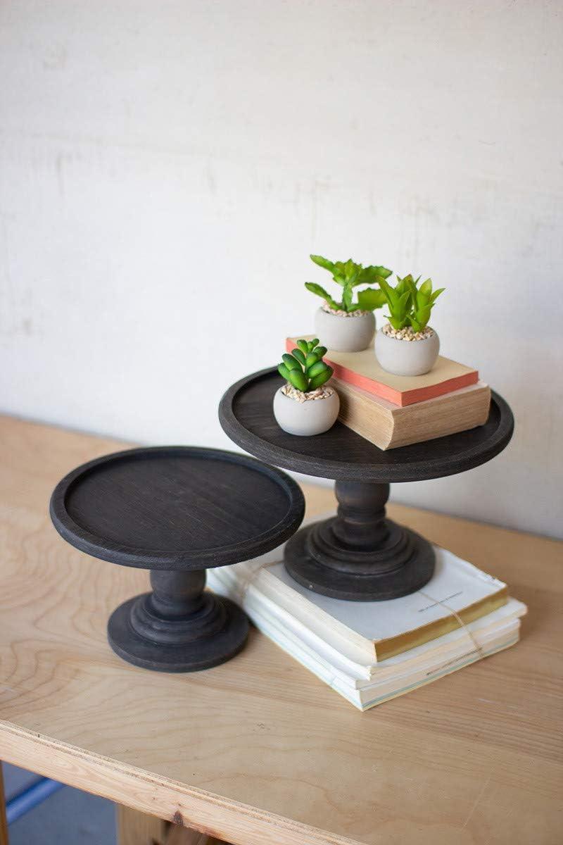 Kalalou CMN1441 Black Wooden Display Pedestals, Set of 2: Kitchen & Dining
