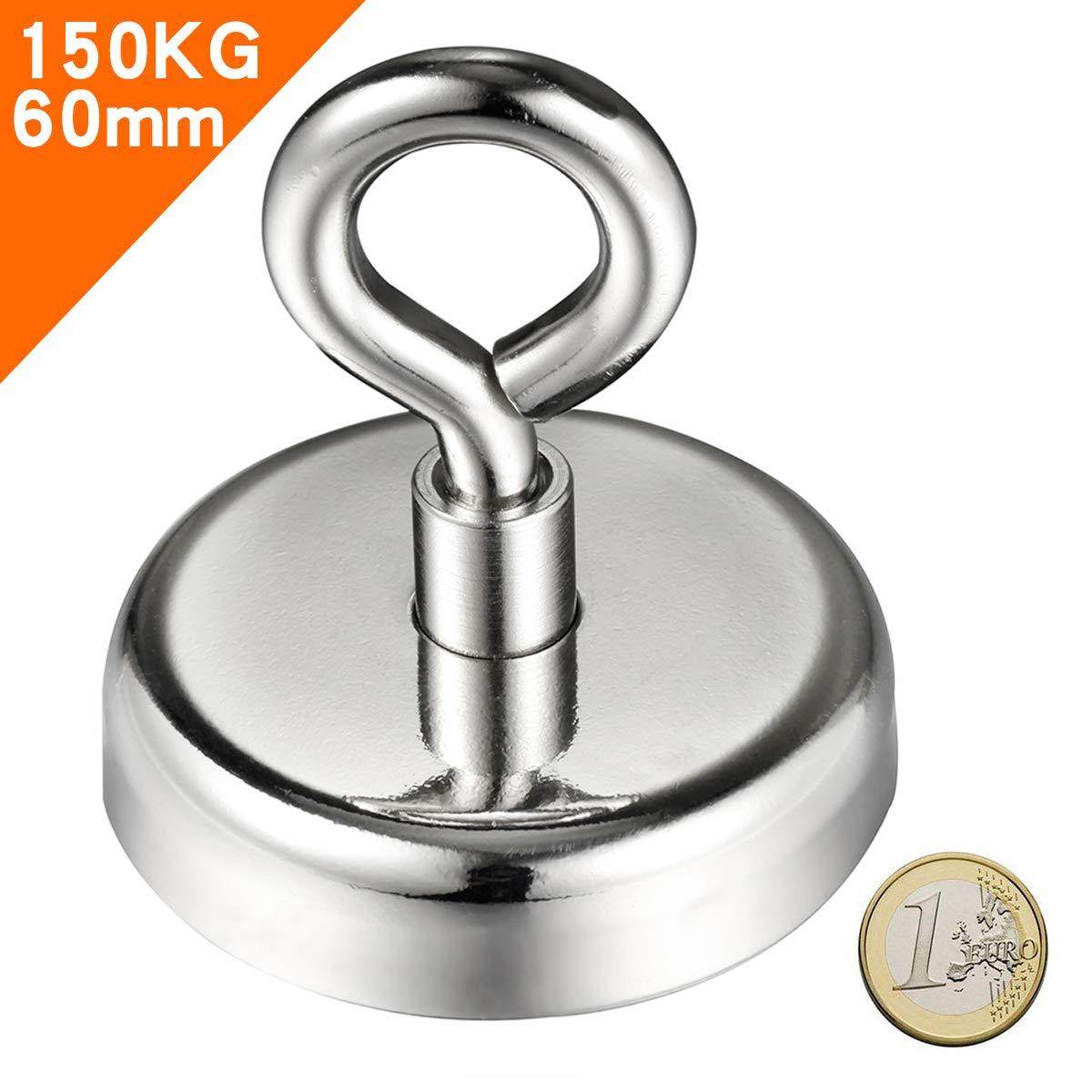 Force de traction 132Kg pour la p/êche magn/étiqu Wukong Aimant N/éodyme Puissant avec une corde de 66 pieds,Diam/ètre 60mm Epaisseur 15mm
