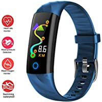 Activity Trackers Health Exercise Watch with Heart Rate and Sleep Monitor, Smart Bracelet Band Calorie Counter, Waterproof Step Counter for Men Women,Blue
