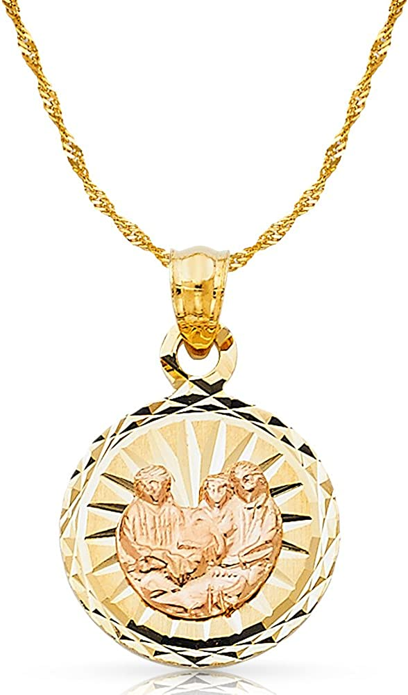 14K Two Tone Gold Baptism Stamp Charm Pendant with 1.2mm Singapore Chain Necklace
