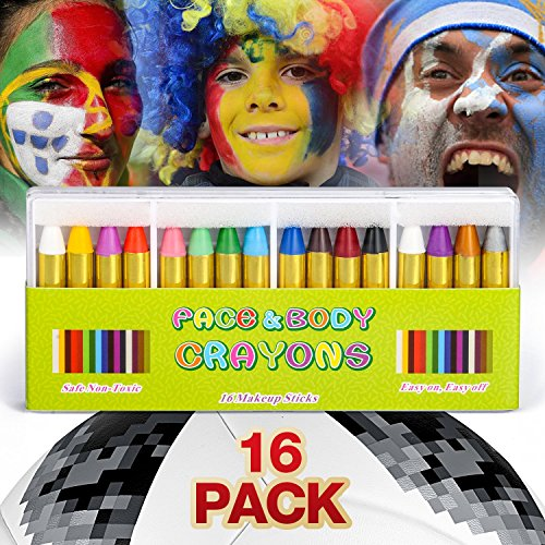 JamBer Crayons Face Painting Makeup Sticks Clown Makeup Non-Toxic Halloween Kids/ Child Christmas Gift Dress up for Baby by (Halloween Face Painting Kit)