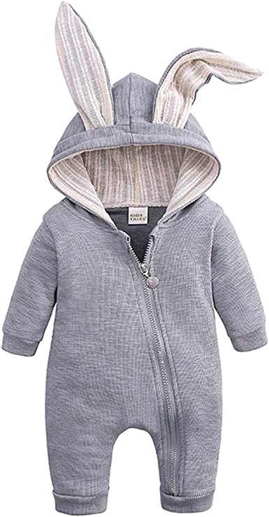 Autunno Inverno Bambina Bambino in Pile Tutina Bunny Animale Tuta Outfit 3 6 9 12m