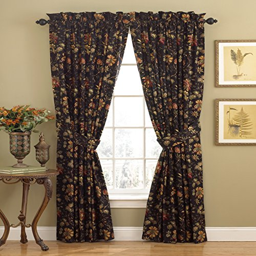 """WAVERLY Curtains for Bedroom - Felicite 50"""" x 84"""" Decorative Single Panel Rod Pocket Window Treatment Privacy Curtains for Living Room, Noir"""