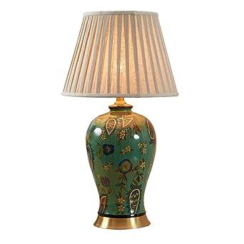 Tangmengyun Hochwertige Kupfer Keramik Tischlampe Tuch Lampenschirm