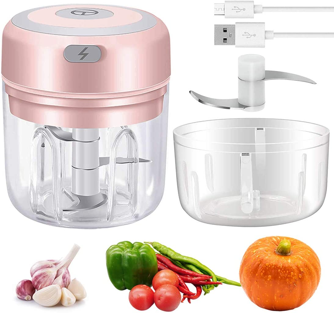 Wireless Electric Mini Garlic Chopper 250&100ml, Powerful Small Food Chopper Processor with 2 Cup, Palm Sized Blender for Garlic/Veggie/Chili/Vegetable/Onion/Salad, Pink