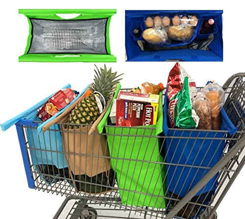 Super Organizer Trolley Bags - 4 Reusable Grocery Bags with Close Tight Large Cooler Bag, Spacious Egg/Bread/Liquor holders, Premium Quality Reusable Shopping Bags, Life Time Warranty