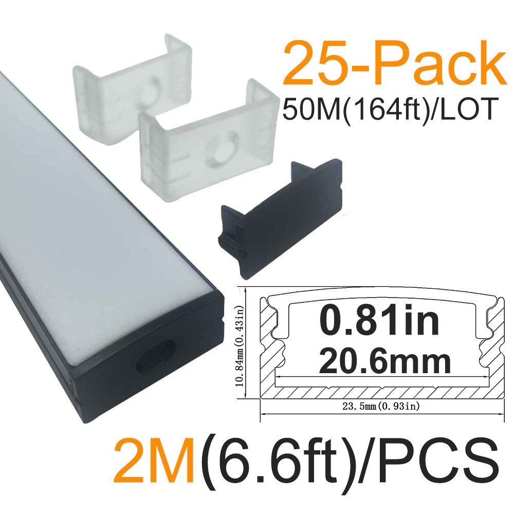 LightingWill 25-Pack U-Shape LED Aluminum Channel 6.56ft/2M Anodized Black Track for <20mm width SMD3528 5050 LED Strips Installation with Oyster White Cover, End Caps and Mounting Clips U04B25 by Lightingwill
