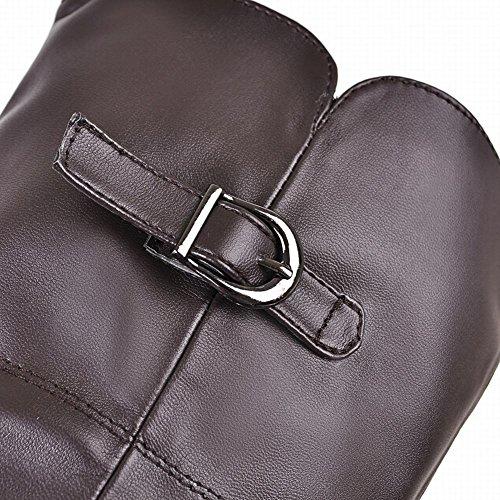 Mee Shoes Damen Plateau Reißverschluss runde Stiefel Braun