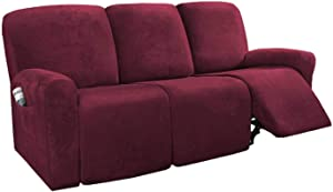 MO&SU Velvet Stretch Recliner Slipcover for 1 2 3 Seater Reclining Cover for Armrest Recliner Furniture Protector Sofa Cover-Wine red-Sofa (8 PCS)