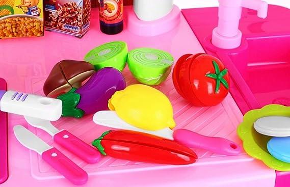 BSD Juego de Imitación Cocina para Niños Grande Cocina de Juguete con Accesorios - Rosa: Amazon.es: Juguetes y juegos