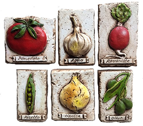 (Piazza Pisano Italian Vegetable Kitchen Wall Decor Plaques)