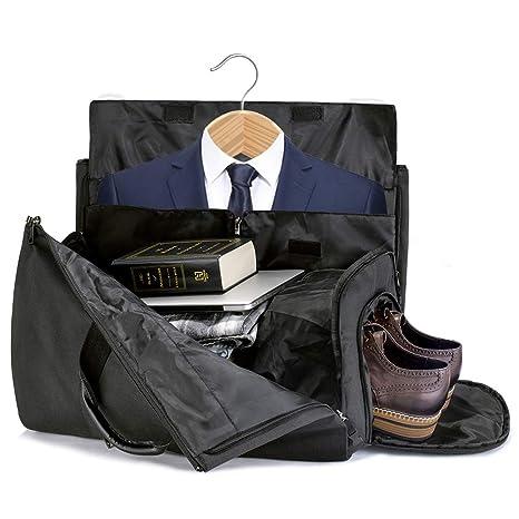 SUVOM Traje Bolso de Viaje Portador de Traje Holdall Cambiar a Bolsa de Viaje de Lona, Bolsa de Ropa de Fin de Semana Con Bolsa para Zapatos Y ...