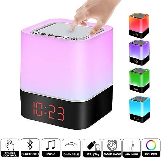 Lámpara de noche Altavoz Bluetooth Sensor Táctil, Luz LED de Noche ...