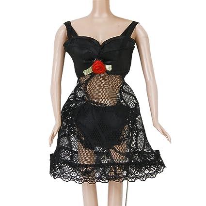 MagiDeal Set Pijama Ropa Interior Vestido de Encaje para Muñecas Negro