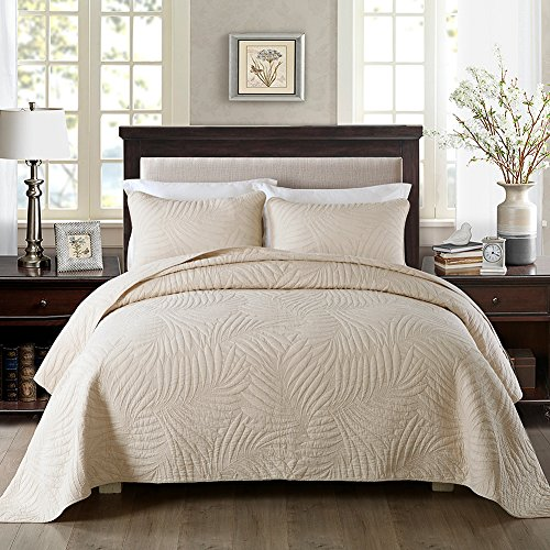 NEWLAKE Bedspread Quilt Sets-Cotton Patchwork Coverlet Set,Beige Banana Leaf Pattern, Queen Size
