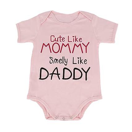 puseky recién nacido bebé niñas mamá Daddy Pelele de manga corta para Mono Bodysuit rosa diseño